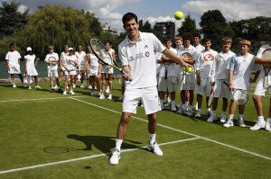 Tim Henman running a tennis clinic at the HSBC Road to Wimbledon