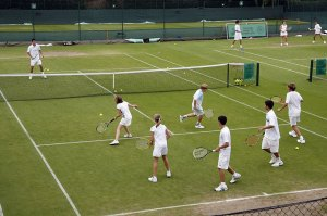 The HSBC Road to Wimbledon Tennis Clinic held by Dan Bloxam the Head Coach and Tim Henman