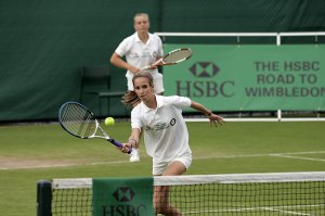 Sophie Morrill and Charlotte Pearce in action during the Girls Doubles Final